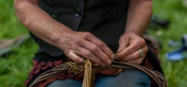 hands making basket