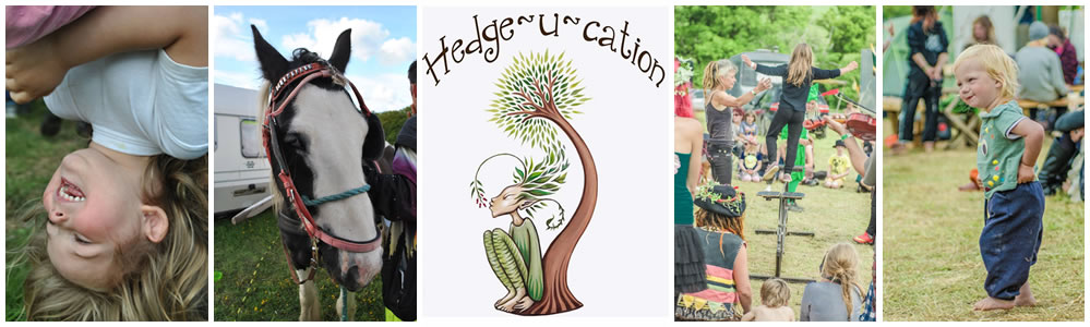 Children playing, a horse and Hedge-U-cation logo