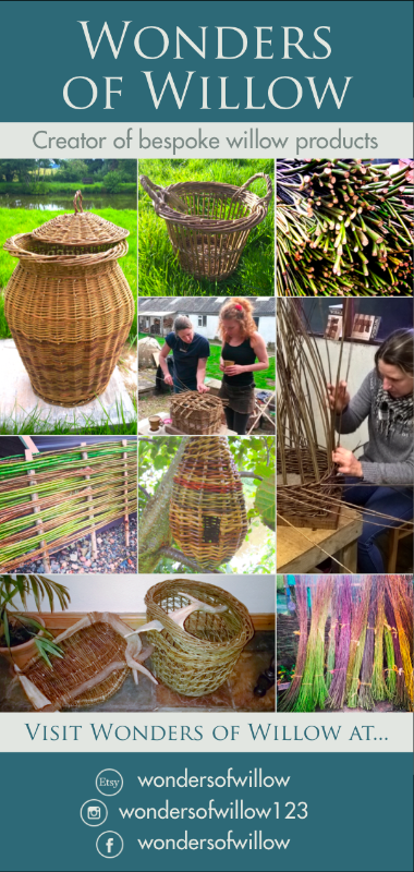 Flyer for Wonders of Willow, willow weaving workshops