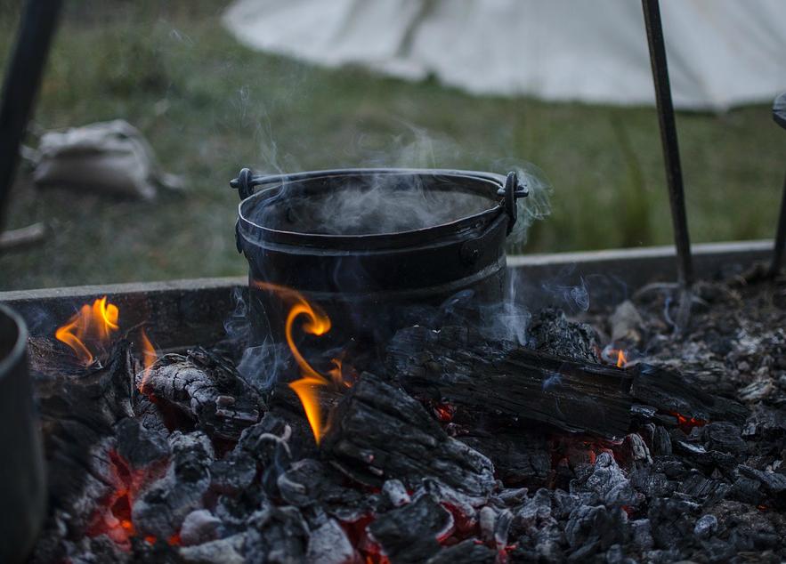 stew pot on fire