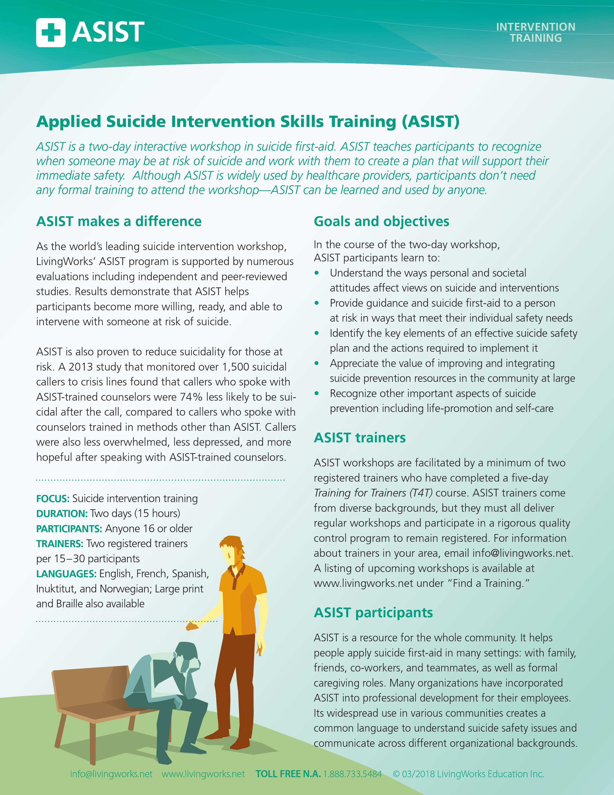 Applied Suicide Intervention Skills Training (ASIST) info sheet 0001
